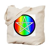 Rainbow Pentacle Tote Bag - Rev. White/Black