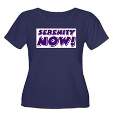Serenity Now Women's Plus Size Scoop Neck Dark T-S