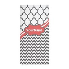 Gray and Coral Chevron Custom Beach Towel