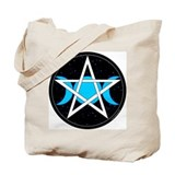 Pentacle Triple Moon Celestial Tote Bag - Rev. B/W