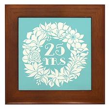 25th Anniversary Wreath Framed Tile