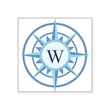 """Compass, Nautical Monogram, Square Sticker 3"""" x 3"""""""