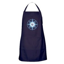 Compass, Nautical Monogram, Blue Apron (dark)