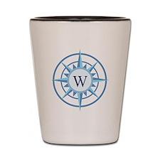 Compass, Nautical Monogram, Blue Shot Glass