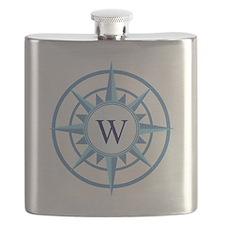 Compass, Nautical Monogram, Blue Flask