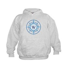 Compass, Nautical Monogram, Blue Hoodie