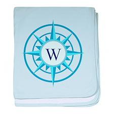 Compass, Nautical Monogram, Blue baby blanket