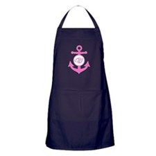 Anchor, Nautical Monogram, Pink Apron (dark)
