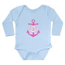 Anchor, Nautical Monog Long Sleeve Infant Bodysuit