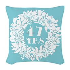 47th Anniversary Wreath Woven Throw Pillow
