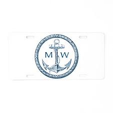Anchor, Nautical Monogram Aluminum License Plate