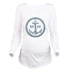 Anchor, Nautical Monogram Long Sleeve Maternity T-