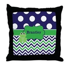 Blue Green Frog Chevron Monogram Throw Pillow