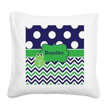 Blue Green Frog Chevron Monogram Square Canvas Pil