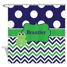 Blue Green Frog Chevron Monogram Shower Curtain