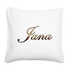 Gold Jana Square Canvas Pillow