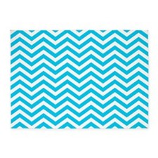 Blue and white chevrons 1 5'x7'Area Rug