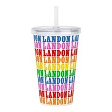 Rainbow Landon Pattern Acrylic Double-wall Tumbler