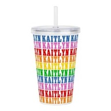 Rainbow Kaitlyn Pattern Acrylic Double-wall Tumble