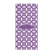 Purple and White Pattern Custom Beach Towel
