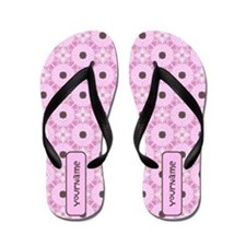 Soft Pink Brown Personalized Flip Flops