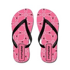 Girly Pink and Black Pattern Flip Flops