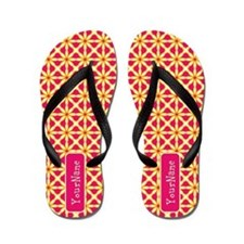 Vibrant Pink Yellow Personalized Flip Flops