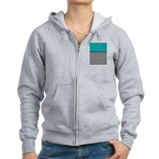 TEAL BLOCK & BLACK chevron Zip Hoodie