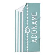 Custom Mint White Rope Stripes Beach Towel