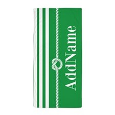 Green White Stripes Personalized Beach Towel
