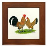 Mille Fleur Dutch Bantams Framed Tile