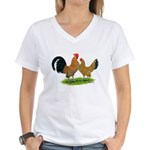 Mille Fleur Dutch Bantams Women's V-Neck T-Shirt