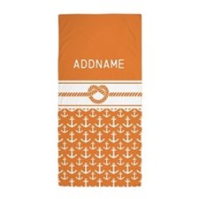 Orange White Anchors Rope Beach Towel