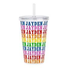 Rainbow Jayden Pattern Acrylic Double-wall Tumbler