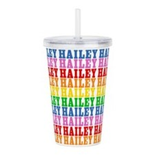Rainbow Hailey Pattern Acrylic Double-wall Tumbler