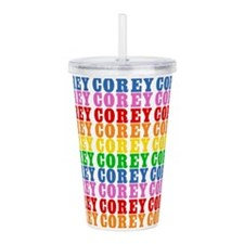 Rainbow Corey Pattern Acrylic Double-wall Tumbler