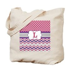 Pink Purple Quatrefoil Chevron Monogram Tote Bag