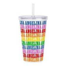 Rainbow Angelina Pattern Acrylic Double-wall Tumbl