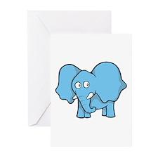 Light blue elephant Greeting Cards