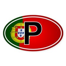 Portuguese Oval Car Sticker - Flag Design