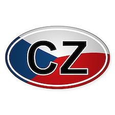 Czech Oval Car Sticker - Flag Design