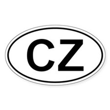 Czech Oval Car Sticker - Cz For Czech Republic