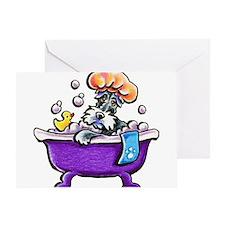 Schnauzer Bath Greeting Cards