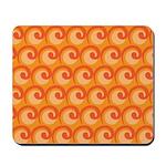 Art Deco Curl Wave orange Mousepad