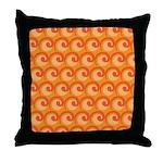 Art Deco Curl Wave orange Throw Pillow
