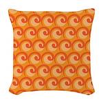 Art Deco Curl Wave orange Woven Throw Pillow