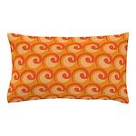Art Deco Curl Wave orange Pillow Case