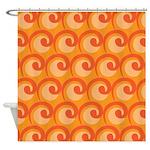 Art Deco Curl Wave orange Shower Curtain