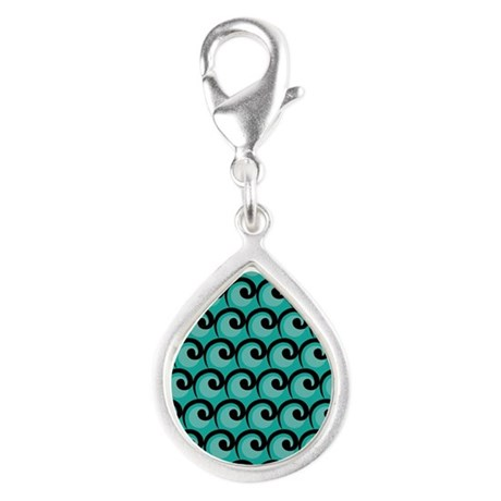 Art Deco Teal Waves Silver Teardrop Charm