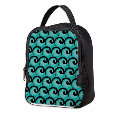 Art Deco Teal Waves Neoprene Lunch Bag